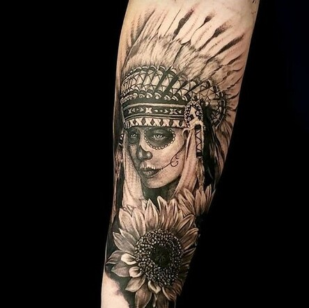 8ae7104ef06cc Tattoo of a native american headdress with full skull paint and a sunflower  done in black