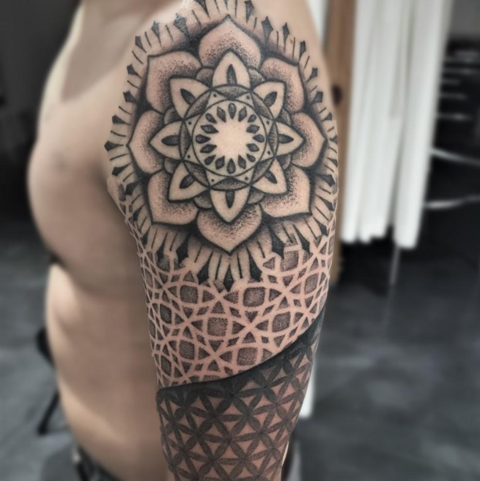 6264609f68c2f Mandala arm sleeve tattoo done in black and grey by tattoo artist Alan Lott  at Sacred
